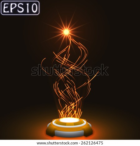released energy particles swarm.(glowing particles.orange version) - stock vector