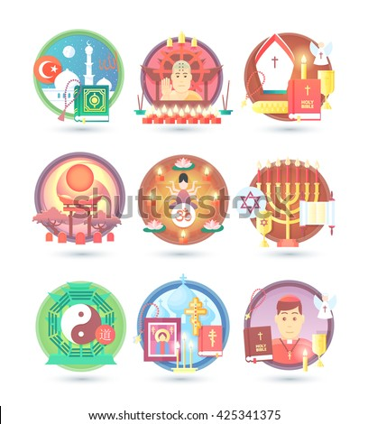 Religion and confession icons. Flat colorful concept vector illustration. - stock vector
