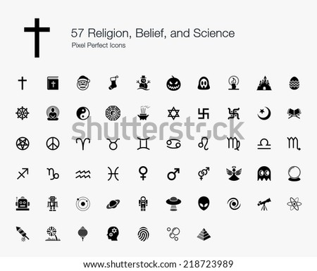 Religion, Belief, and Science Pixel Perfect Icons - stock vector
