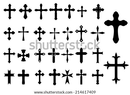 Religion Cross christianity symbols set isolated on white background for Religious, Church and Christianity design - stock vector
