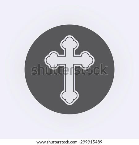 Religion cross icon in circle - stock vector