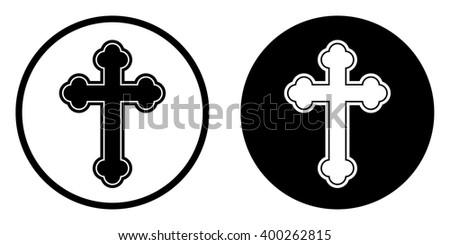 Religion cross icon in circle . Vector illustration - stock vector