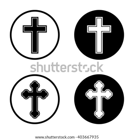 Religion cross icon in circle . Vector illustration
