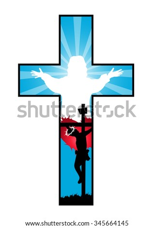 Religion Cross with crucifixion and resurrection of Jesus -Vector illustration   - stock vector