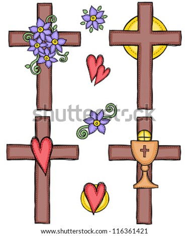 Religion - illustration of crosses with heart, flower, sun and chalice - stock vector