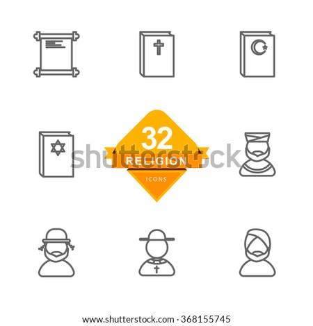Religion ( Line Icons ) - stock vector