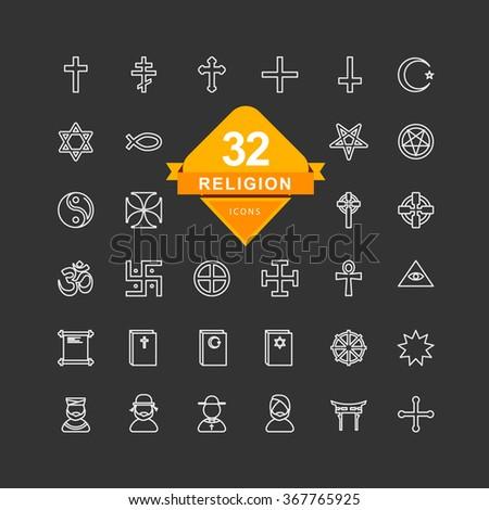 Religion ( Line Icons ) Black - stock vector