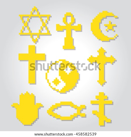 Religion symbols icons set. Pixel art. Old school computer graphic style. Games elements. - stock vector