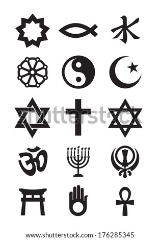 Religion symbols. Vector format - stock vector