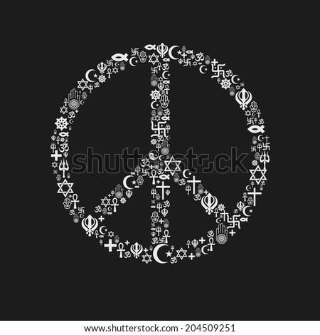 Religions Peace Shape - White - stock vector