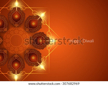 Religious card design for Diwali festival with beautiful lamps - stock vector