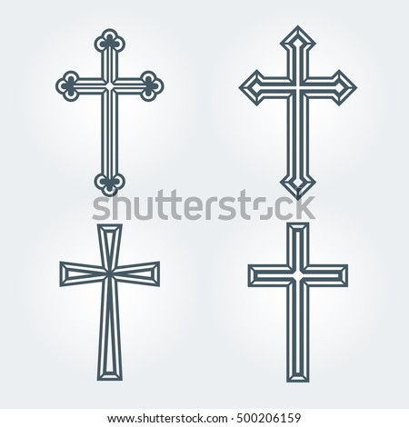Religious Christian crosses crucifix set design. Vector illustration.