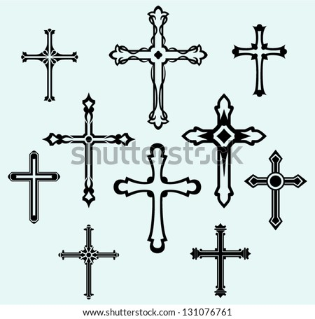 Religious cross design collection - stock vector