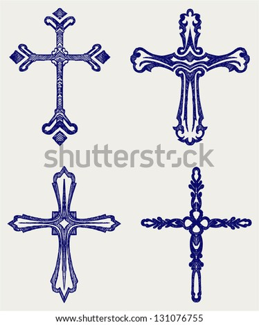 Religious cross design collection. Doodle style