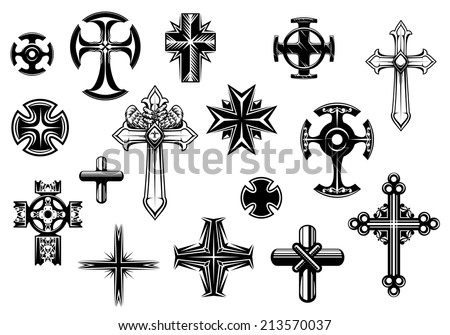 Religious Crosses Set Isolated On White Stock Vector ...