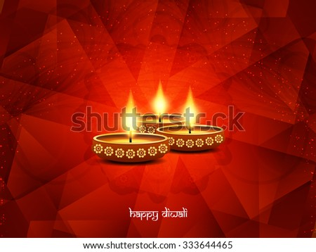 Religious happy diwali vector card design. - stock vector