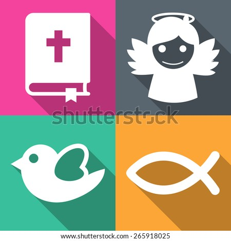 Religious icons set vector illustration - stock vector