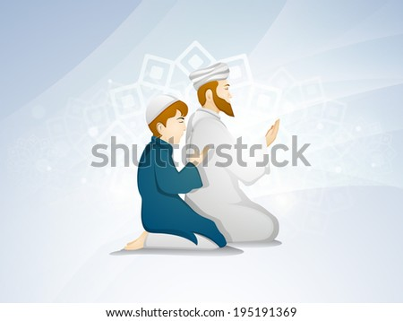 Religious Muslim father and son praying on floral decorated shiny blue background for Eid Mubarak festival celebrations.  - stock vector