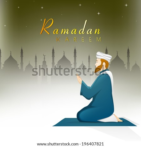 Religious Muslim young man praying in front of mosque on stars night background for holy month of Muslim community Ramadan Kareem.  - stock vector