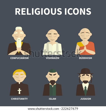 religious people icons ((color) - stock vector