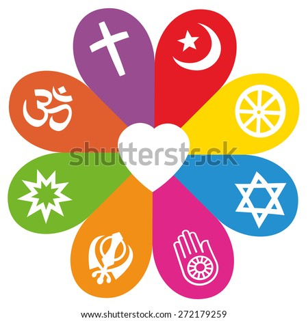 Religious signs on colored petals assembling around a heart as a symbol for colorful religious individuality or faith - Christianity, Islam, Buddhism, Judaism, Jainism, Sikhism, Bahai, Hinduism. - stock vector