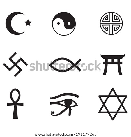 Religious symbols - icons isolated on white background. VECTOR illustration. - stock vector