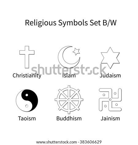 religious symbols set black and white - stock vector