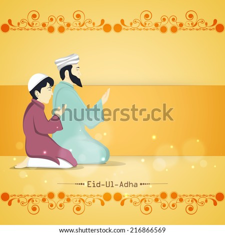 Religious young Muslim man with his son praying (Namaz, Islamic Prayer) on floral design decorated yellow background for Muslim community festival Eid-Ul-Adha celebrations.  - stock vector