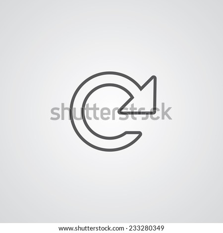 reload outline thin symbol, dark on white background, logo editable, creative template - stock vector