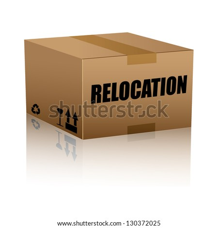 relocation text over cardboard box isolated. vector illustration