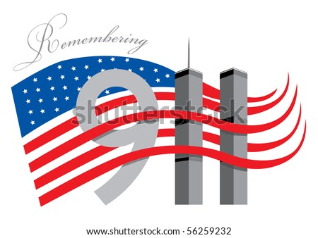 Remember 911 - World Trade Center with American Flag - stock vector