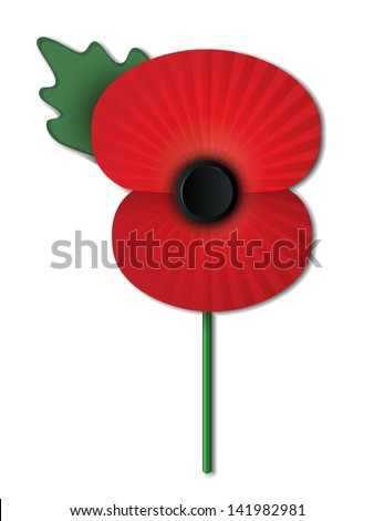 Remembrance Day poppy isolated on white background. EPS10 vector file contains transparencies, blends and gradients. - stock vector