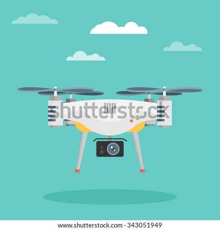 Remote aerial drone with a camera. Flat design. - stock vector