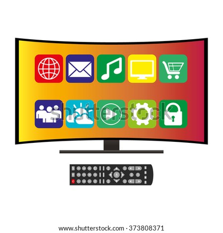remote control and curved ultra HD TV, flat vector illustration on white - stock vector