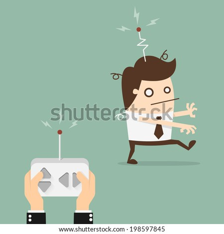 Remote control businessman - stock vector