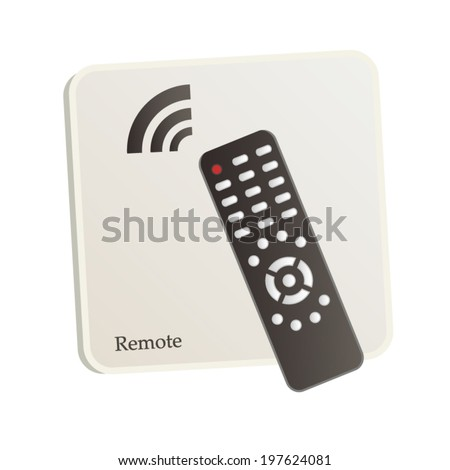 Remote control 3d icon with control panel symbol and signal isolated on white sign