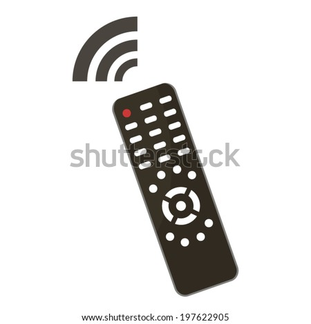 Remote control illustration with control panel and signal icon - stock vector