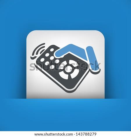 Remote control label icon - stock vector