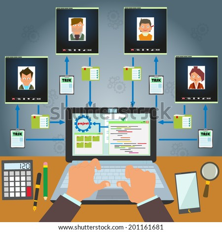 Remote control staff and project management. Remote business management concept. distant work with freelancers on a joint project. infographics. vector. - stock vector