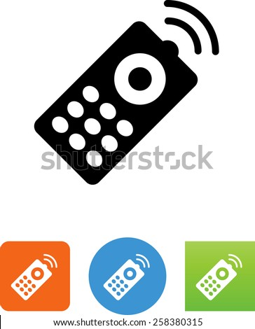 Remote control with signal symbol for download. Vector icons for video, mobile apps, Web sites and print projects.  - stock vector