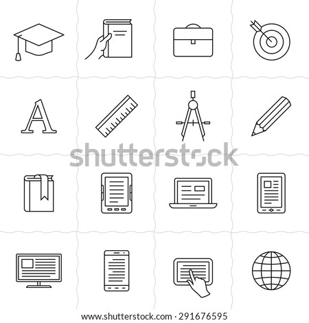 Remote education linear icons. Simple outlined e-learning icons. Linear style - stock vector