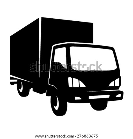 Removal truck icon - black - stock vector