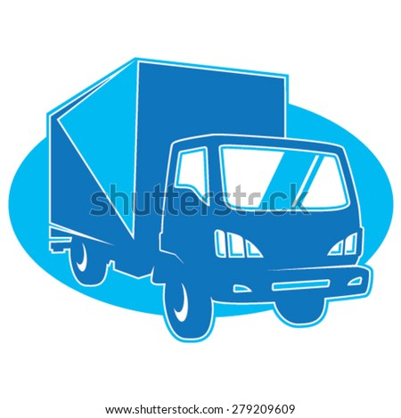 Removal truck symbol in blue - stock vector