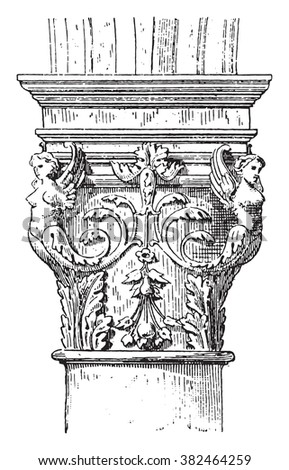 Renaissance Capital, French, House of Francis I, vintage engraved illustration. Dictionary of words and things - Larive and Fleury - 1895.  - stock vector