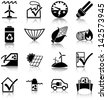 Renewable energies and energy efficiency related icons/ silhouettes. - stock photo