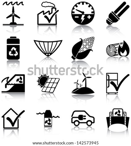 Renewable energies and energy efficiency related icons/ silhouettes. - stock vector