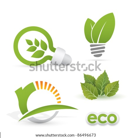 renewable energy designs (eco icons) - stock vector