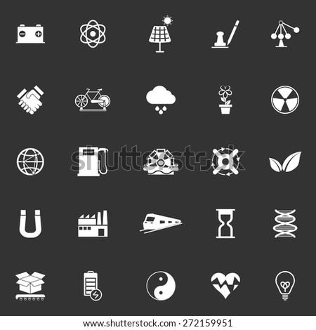 Renewable energy icons on gray background, stock vector - stock vector