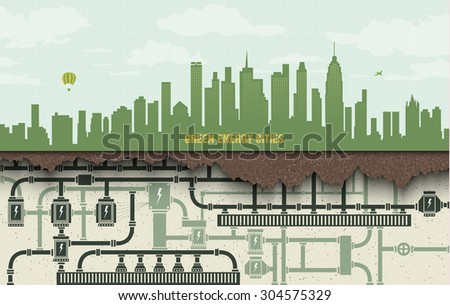 renewable energy in the big city. green ecology with wind generators and solar panels - stock vector