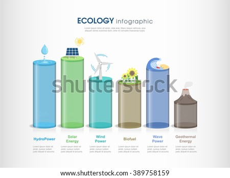 Renewable energy infographics background and elements. there are solar, wind, hydro, biofuel, geothermal energy. vector illustration - stock vector